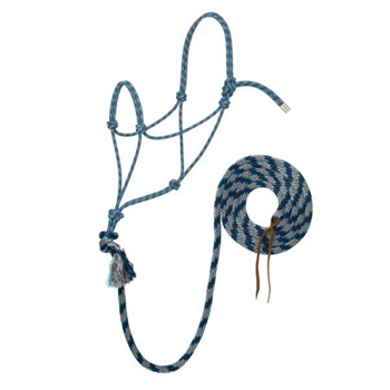 Weaver Silvertip No. 95 Rope Halter w. Lead - Grey/Blue/Navy/Turquoise - Average
