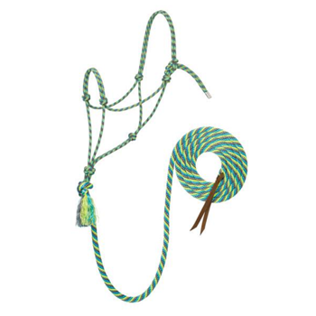 Weaver Silvertip No. 95 Rope Halter w. Lead - Grey/Turquoise/Lime/Black - Average