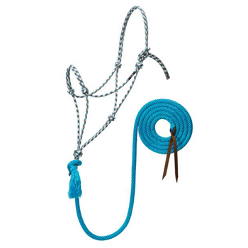 Weaver Silvertip No. 95 Rope Halter w. Lead - White/Brown/Turquoise/Tan - Average